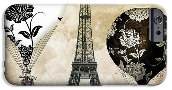 Paris Paintings iPhone Cases - Ceil Jaune Vintage Air Balloons iPhone Case by Mindy Sommers