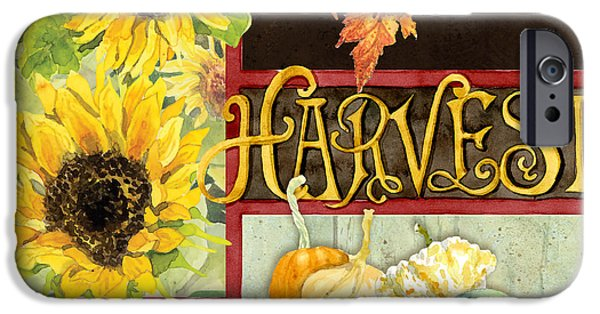Farm Stand iPhone Cases - Celebrate Abundance - Harvest Fall Leaves Squash n Sunflowers w Paisleys iPhone Case by Audrey Jeanne Roberts