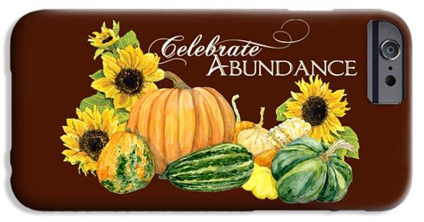 Jack O Lantern iPhone Cases - Celebrate Abundance - Harvest Fall Pumpkins Squash n Sunflowers iPhone Case by Audrey Jeanne Roberts