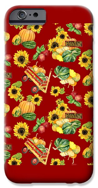 Farm Stand iPhone Cases - Celebrate Abundance Harvest Half Drop Repeat iPhone Case by Audrey Jeanne Roberts