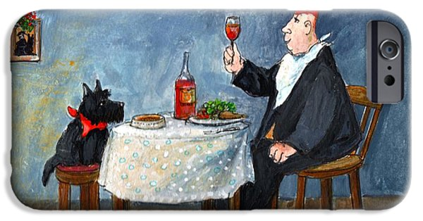 Table Wine Drawings iPhone Cases - Celebrating Christmas iPhone Case by Margaret Loxton