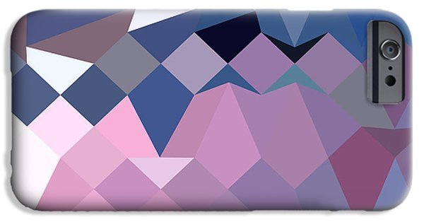 Mosaic iPhone Cases - Celestial Blue Abstract Low Polygon Background iPhone Case by Aloysius Patrimonio