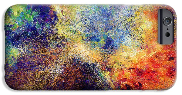 Abstract Expressionism iPhone Cases - Celestial Explosion Abstract iPhone Case by Georgiana Romanovna