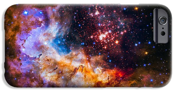 Constellations iPhone Cases - Celestial Fireworks iPhone Case by Marco Oliveira