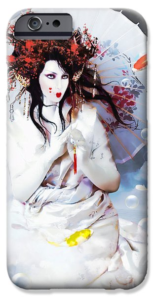 Conway iPhone Cases - Celestial Koi Geisha iPhone Case by Shanina Conway