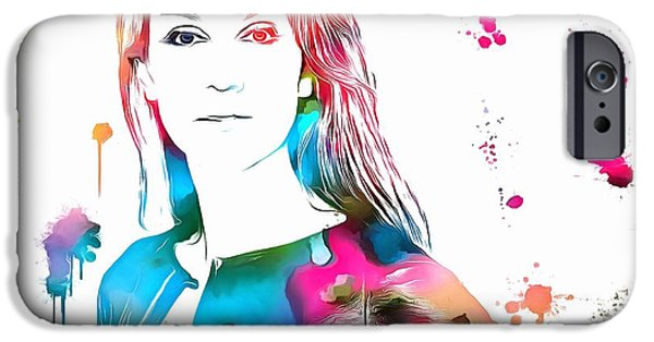 Empower iPhone Cases - Celine Dion Paint Splatter iPhone Case by Dan Sproul