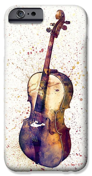 Strings Digital iPhone Cases - Cello Abstract Watercolor iPhone Case by Michael Tompsett