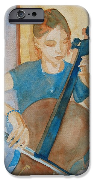 Figures Paintings iPhone Cases - Cello Practice IV iPhone Case by Jenny Armitage