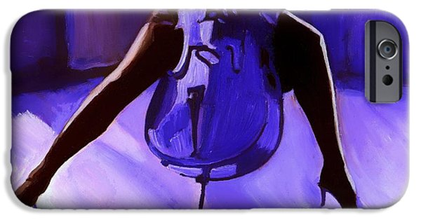 Mood Paintings iPhone Cases - Cello iPhone Case by Vel Verrept