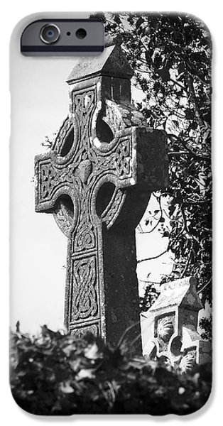 Religious Icon iPhone Cases - Celtic Cross at Fuerty Cemetery Roscommon Ireland iPhone Case by Teresa Mucha