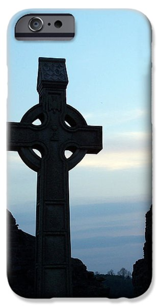 Religious Icon iPhone Cases - Celtic Cross at Sunset Donegal Ireland iPhone Case by Teresa Mucha