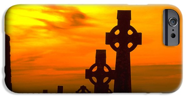 Irish Photographs iPhone Cases - Celtic Crosses in Graveyard iPhone Case by Carl Purcell