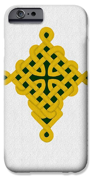 Celtic Knotwork iPhone Cases - Celtic Knotwork Cross iPhone Case by James M Thomas