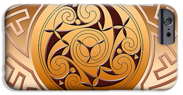 Celtic Spiral iPhone Cases - Celtic Spiral and Key Pattern iPhone Case by Melissa A Benson
