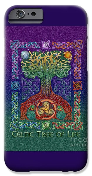Tree Roots Mixed Media iPhone Cases - Celtic Tree of Life iPhone Case by Kristen Fox