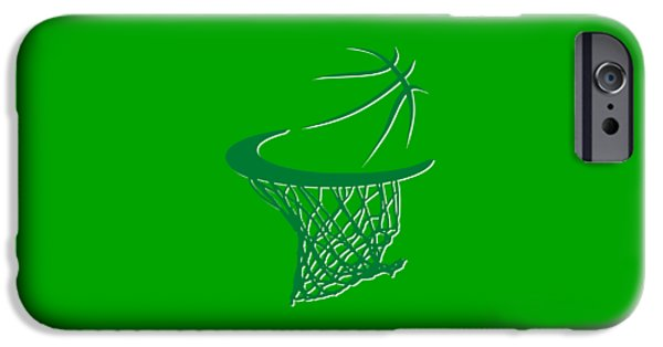 Tickets Boston iPhone Cases - Celtics Basketball Hoop iPhone Case by Joe Hamilton