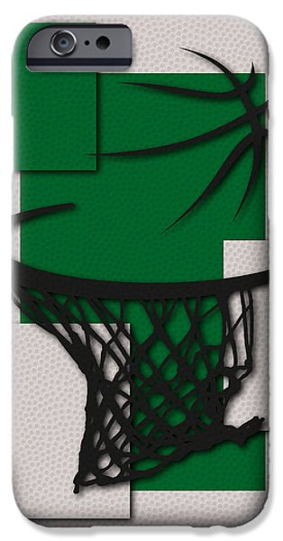 Tickets Boston iPhone Cases - Celtics Hoop iPhone Case by Joe Hamilton