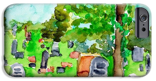 Headstones Paintings iPhone Cases - Cemetary iPhone Case by Rachel Rose