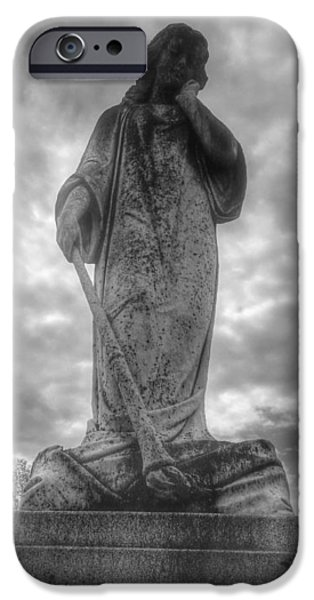 Cemetary iPhone Cases - Cemetery Statue 2 iPhone Case by Matthew McClain