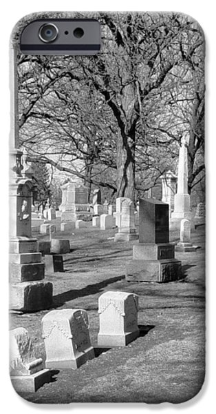 Headstones iPhone Cases - Cemetery 3 iPhone Case by Anita Burgermeister