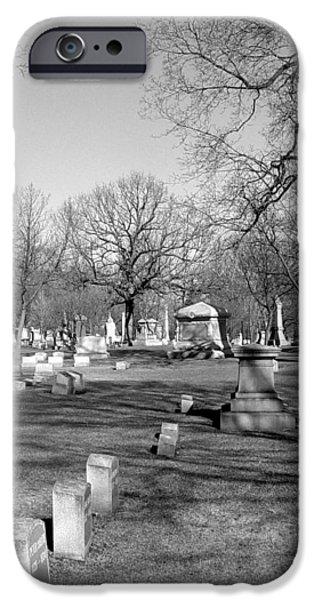Headstones iPhone Cases - Cemetery 7 iPhone Case by Anita Burgermeister
