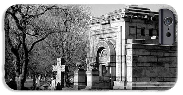 Headstones iPhone Cases - Cemetery 8 iPhone Case by Anita Burgermeister