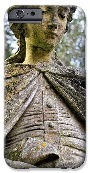 History Sculptures iPhone Cases - Cemetery Statue iPhone Case by E A
