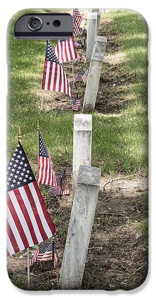 American Flag iPhone Cases - Cemetery Tombstones Marked with American Flags iPhone Case by James BO  Insogna