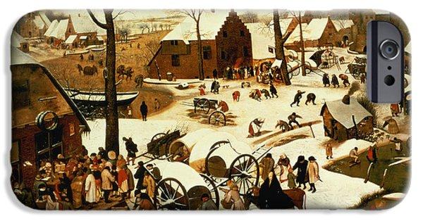 Nativity Paintings iPhone Cases - Census at Bethlehem iPhone Case by Pieter the Elder Bruegel