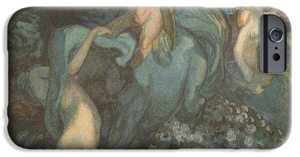 Angel Blues iPhone Cases - Centaur Nymphs and Cupid iPhone Case by Franz von Bayros