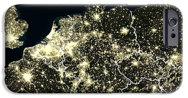 North Sea iPhone Cases - Central Europe At Night, Satellite Image iPhone Case by Planetobserver