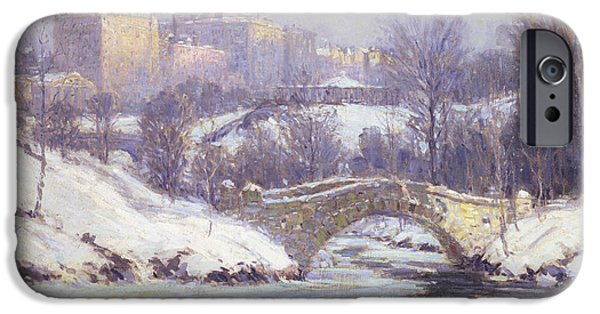 Snowy Stream iPhone Cases - Central Park iPhone Case by Colin Campbell Cooper