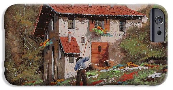 Miniatures iPhone Cases - Cercando Tra Le Foglie iPhone Case by Guido Borelli