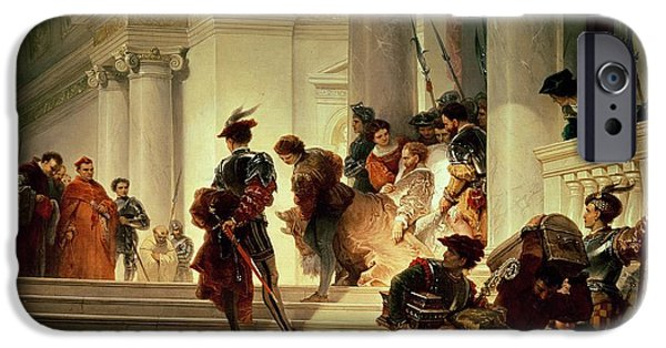 Ruler iPhone Cases - Cesare Borgia leaving the Vatican iPhone Case by Giuseppe Lorenzo Gatteri