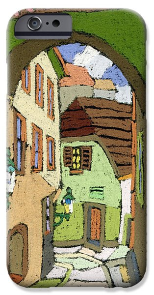 Buildings iPhone Cases - Cesky Krumlov Masna Street iPhone Case by Yuriy  Shevchuk