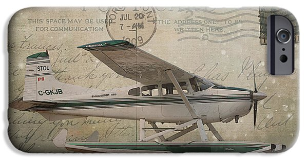 July iPhone Cases - Cessna Skywagon 185 on Vintage Postcard iPhone Case by Nina Silver