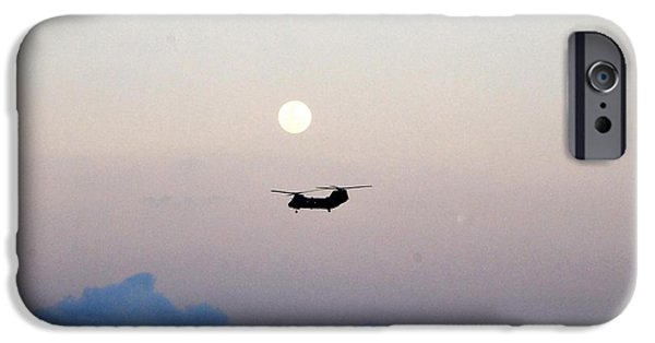 Sea Moon Full Moon iPhone Cases - CH-46 Sea Knight helicopter iPhone Case by Celestial Images