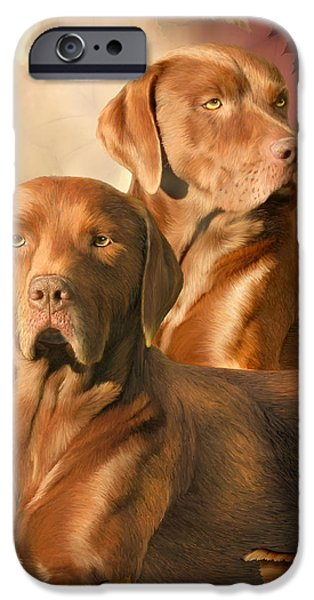 Lab Print iPhone Cases - CHA CHA - The Chocolate Lab iPhone Case by Carol Cavalaris