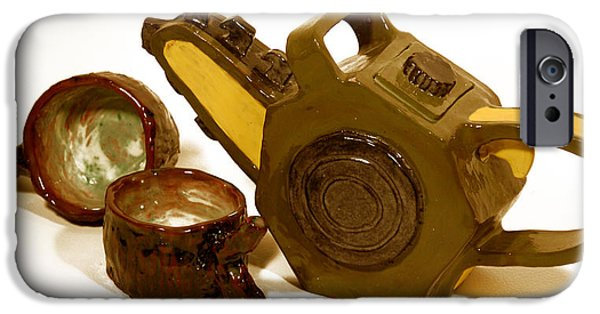 ist Ceramics iPhone Cases - Chainsaw Teapot and Log teacups iPhone Case by Candie Witherspoon
