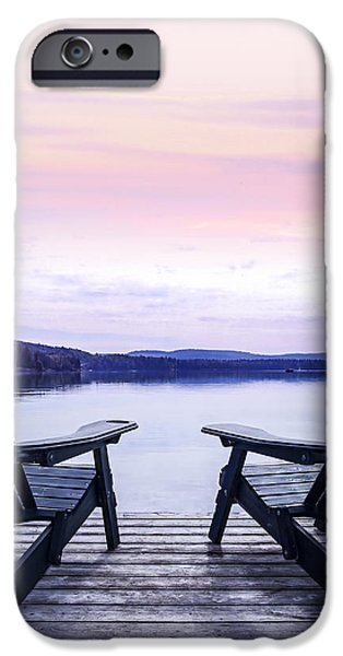 Chairs on lake dock iPhone Case by Elena Elisseeva