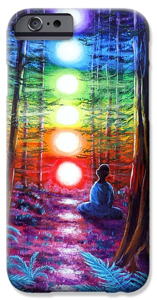 States iPhone Cases - Chakra Meditation in the Redwoods iPhone Case by Laura Iverson