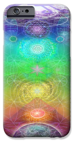 Flower Of Life Digital Art iPhone Cases - Chakra Activation Geometry Template iPhone Case by Jahsah Ananda