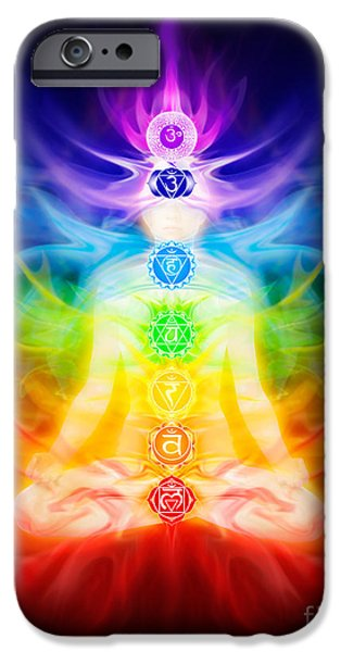 Luminous Body iPhone Cases - Chakras and energy flow on human body iPhone Case by Oleksiy Maksymenko