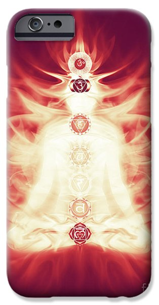 Luminous Body iPhone Cases - Chakras symbols and energy flow on human body iPhone Case by Oleksiy Maksymenko