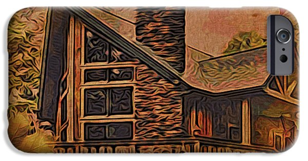 Cabin Window iPhone Cases - Chalet in Autumn iPhone Case by Kathy Kelly