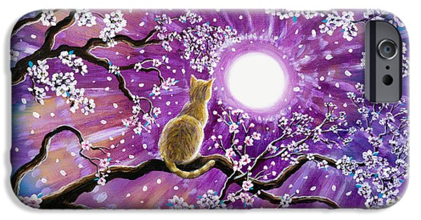 Orange Tabby Paintings iPhone Cases - Champagne Tabby Cat in Cherry Blossoms iPhone Case by Laura Iverson