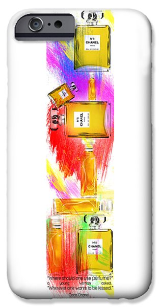 Dressing Room Paintings iPhone Cases - Chanel Perfume Bottles 2 iPhone Case by Nostalgic Art