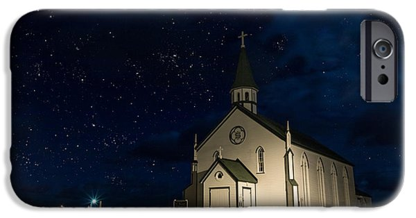 Snowy Night iPhone Cases - Chapel By Starlight iPhone Case by Crystal Fudge