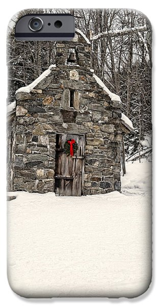 Wreath iPhone Cases - Chapel in the Woods Stowe Vermont iPhone Case by Edward Fielding
