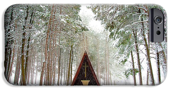 Winter Storm iPhone Cases - Chapel in Winter iPhone Case by Jeff Bartelt